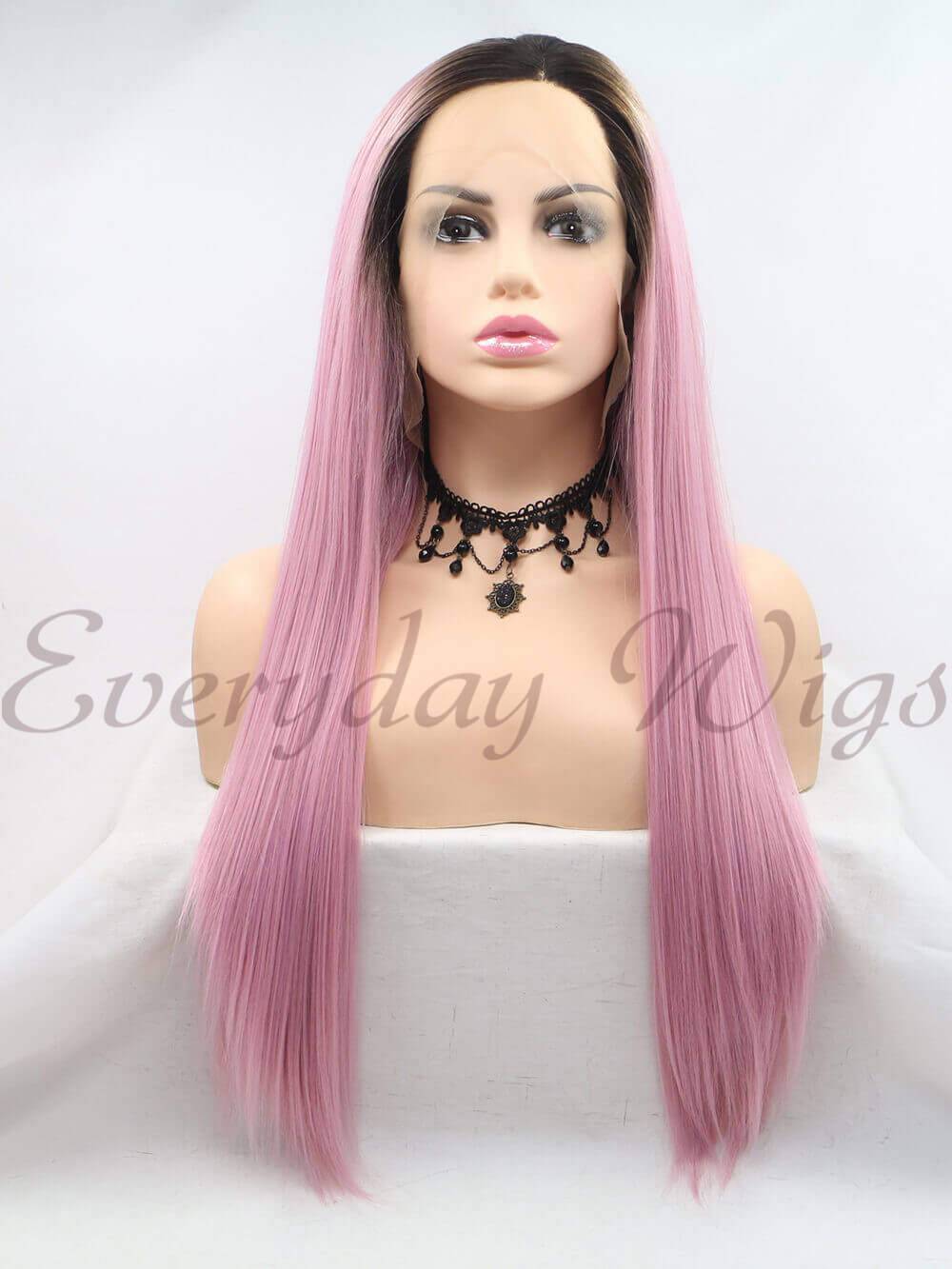 "26"" Ombre Pink Long Synthetic Lace Front Wig - edw1182"