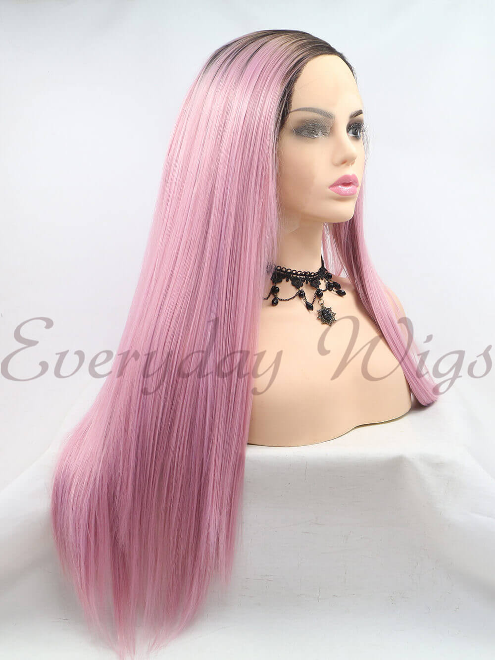 "24"" Ombre pink Braided Synthetic Lace Front Wig - edw1182"
