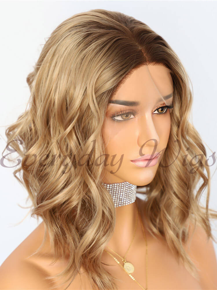 "14"" Ombre Brown Synthetic Lace Front Wig - edw1183"