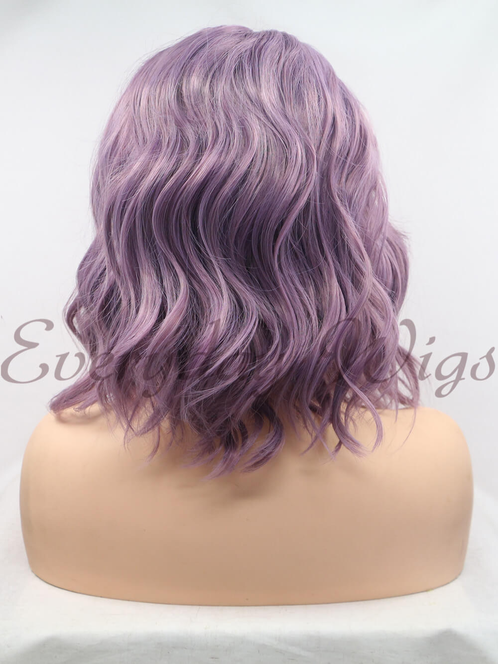 "12"" Short Purple Wavy Synthetic Lace Front Wig - edw1184"