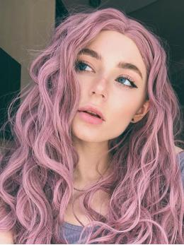 "24"" Pink Wavy Synthetic Lace Front Wig - edw1186"
