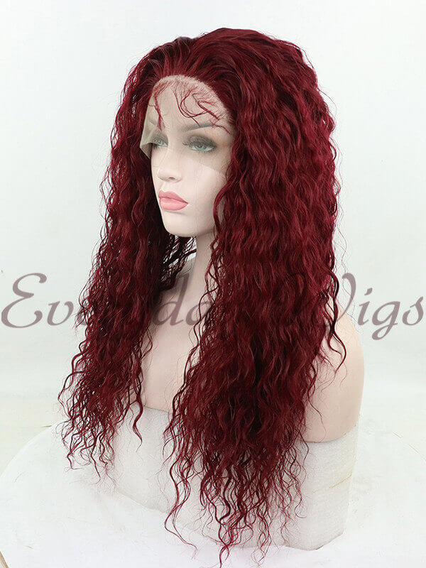 "24"" Long Red Curly Synthetic Lace Front Wig - edw1187"