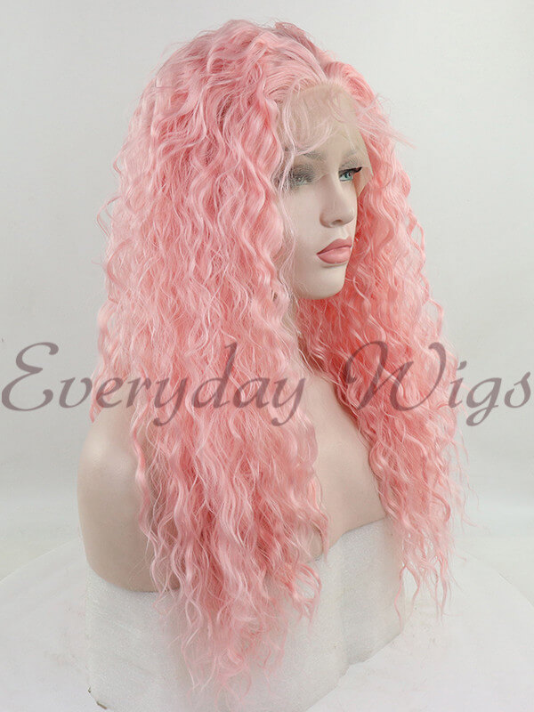 "24"" Pink Curly Synthetic Lace Front Wig- edw1188"