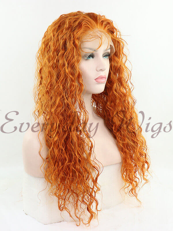 "24"" Orange Long Curly Synthetic Lace Front Wig- edw1189"