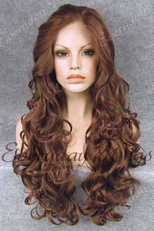 "24"" #4-Medium Reddish Brown Long Wavy Synthetic Lace Front Wig - edw118"