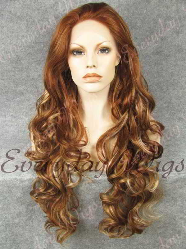 "24"" Highlight Color Long Wavy Synthetic Lace Front Wig - edw119"