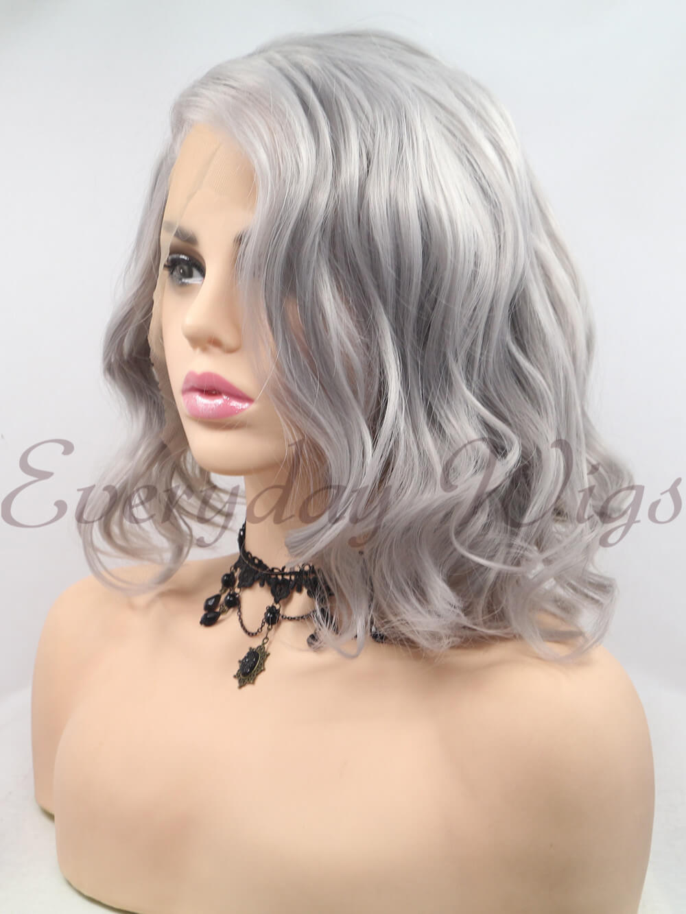 "12"" Short Grey Synthetic Lace Front Wig - edw1190"