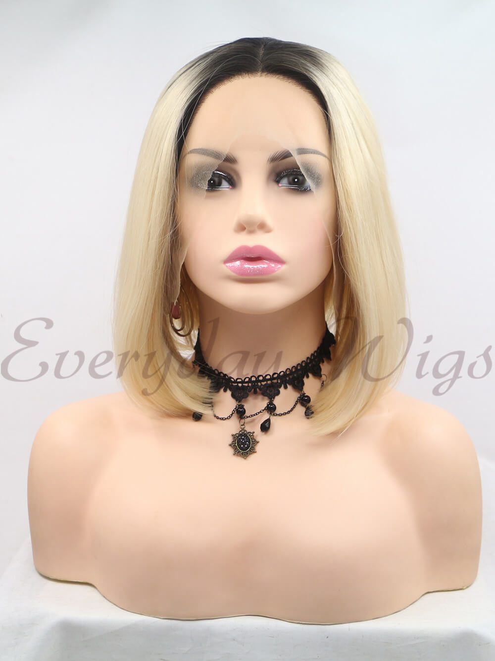 "12"" Short Ombre Blonde Synthetic Lace Front Wigs-edw1191 - Click Image to Close"