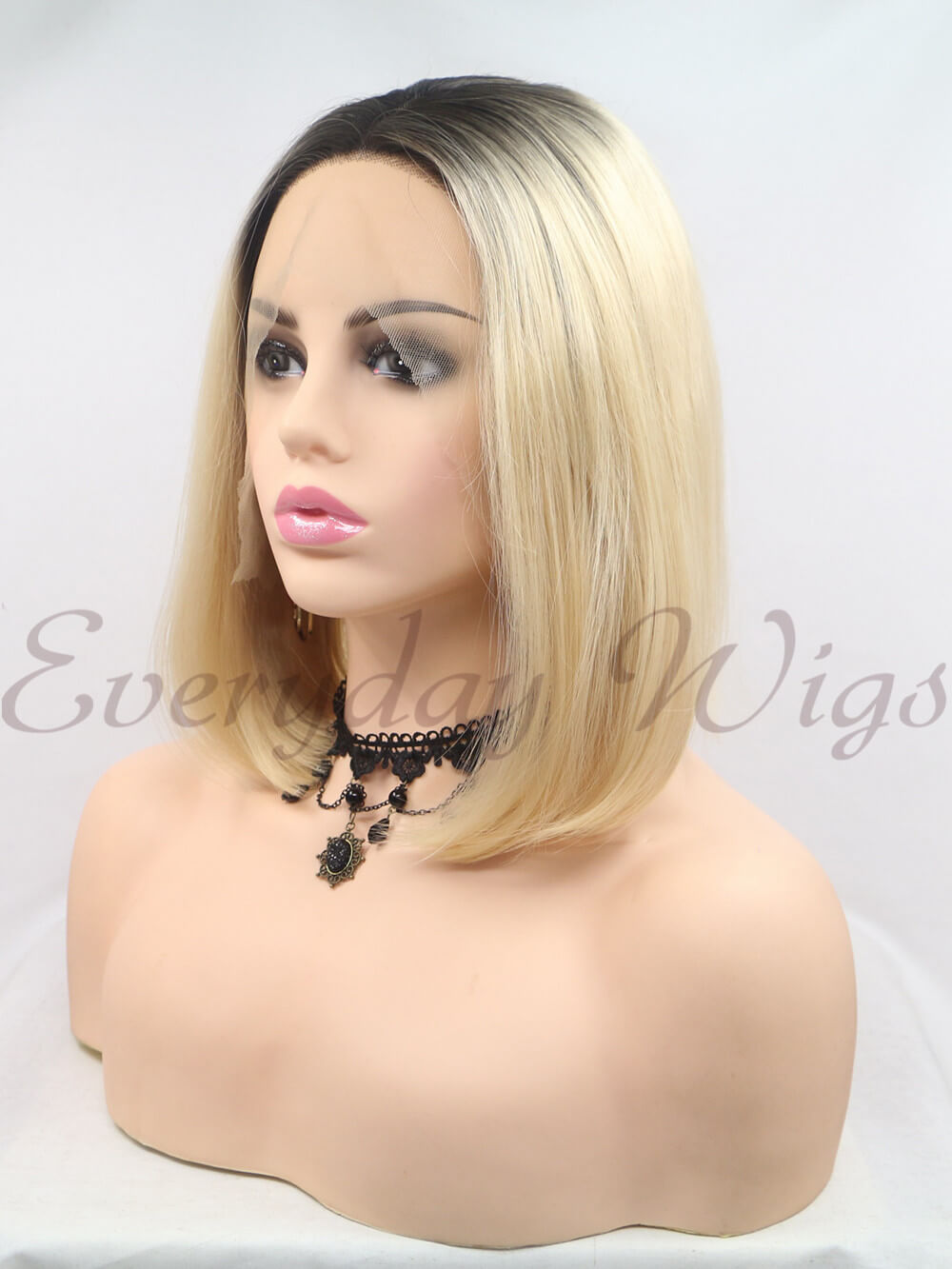 "12"" Short Ombre Blonde Synthetic Lace Front Wigs-edw1191"