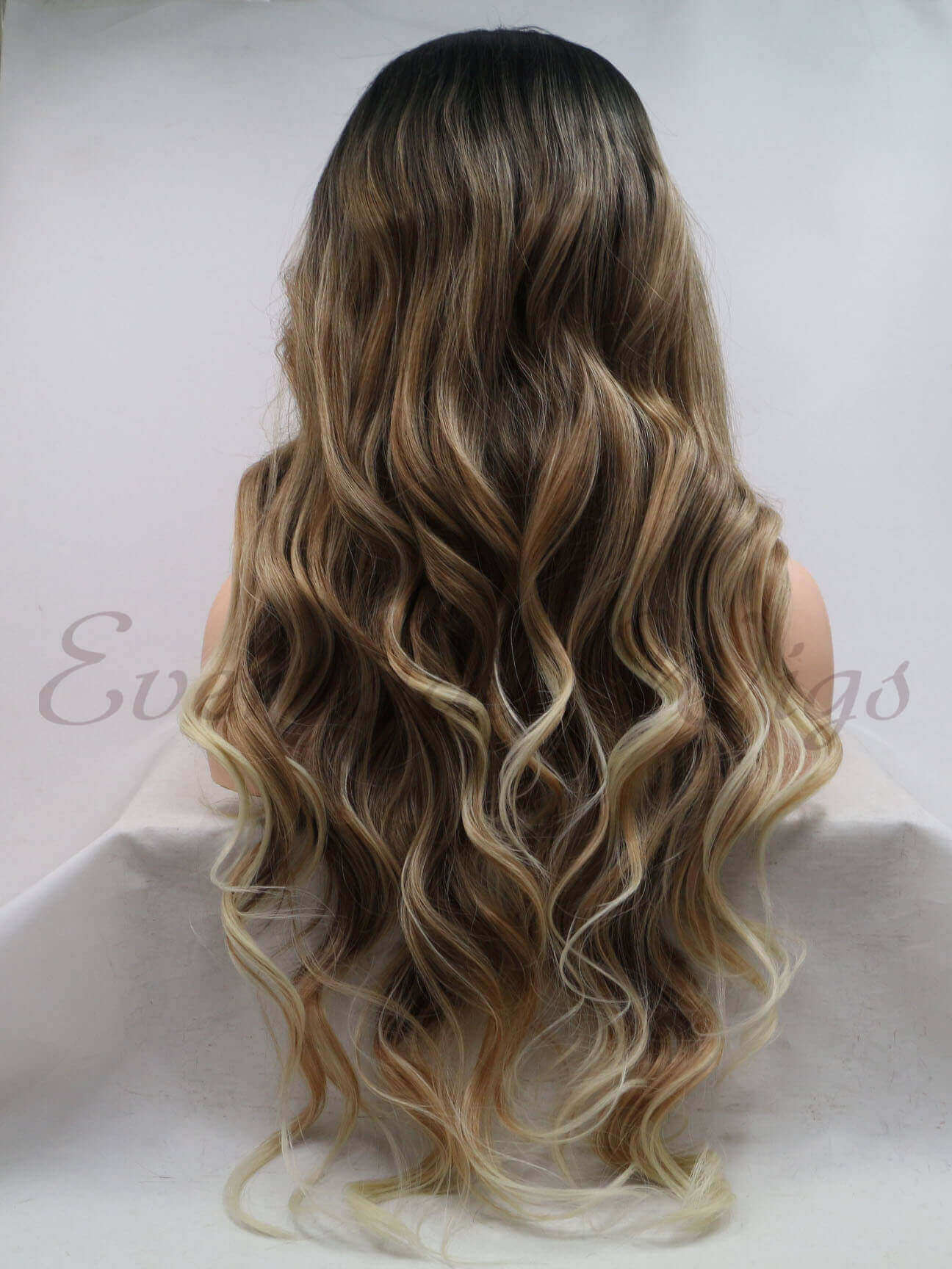 "26 "" Ombre Brown Blonde Wavy Synthetic Wigs-edw1193"