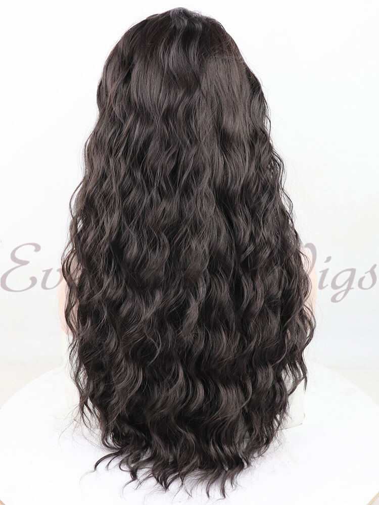 "24"" Medium Brown Wavy Synthetic Lace Front Wig- edw1195"