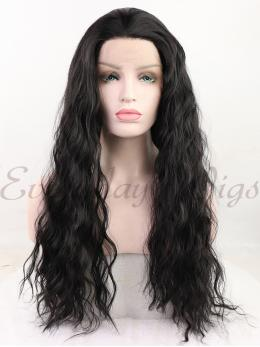 "24"" Natural Black Wavy Synthetic Lace Front Wig - edw1196"