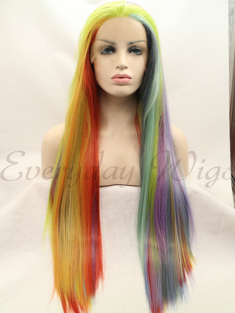 26 Inch Colorful Rainbow Synthetic Lace Front Wig- edw1197