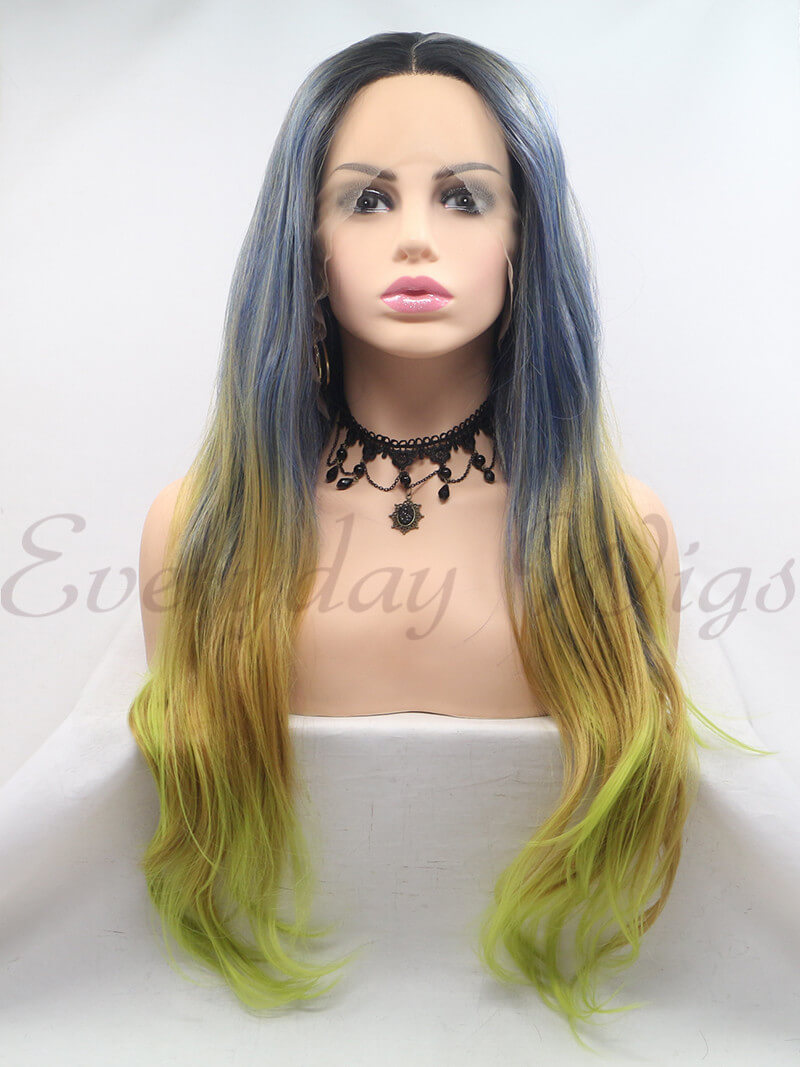 "24"" Ombre Green Synthetic Lace Front Wig - edw1199"