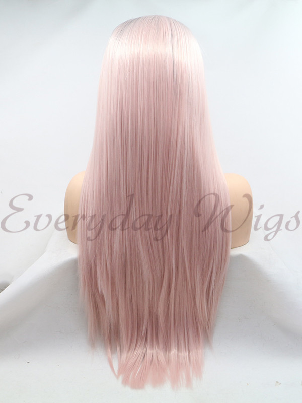 "26"" Ombre Pink Straight Synthetic Lace Front Wigs- edw1200"
