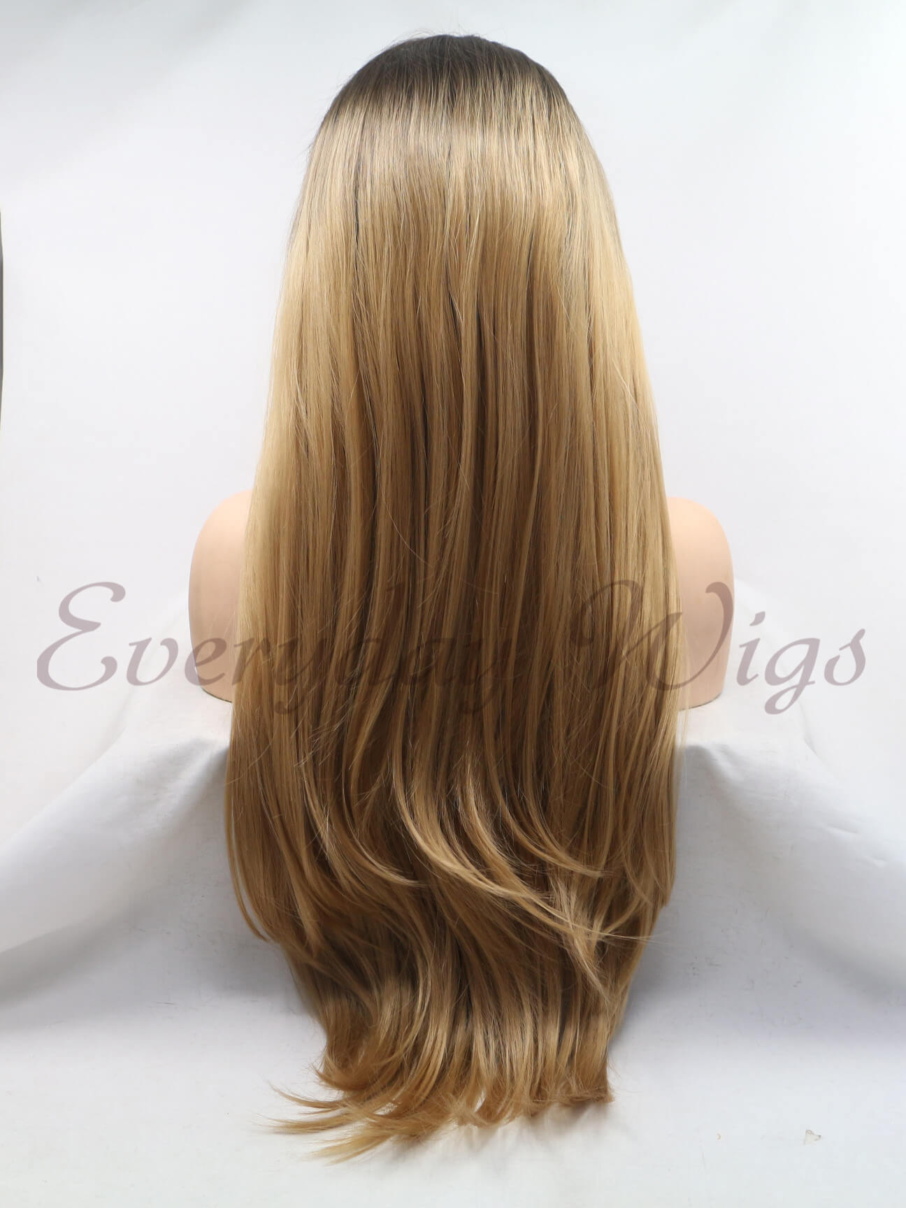 24 inch Ombre Brown Wavy Synthetic Lace Front Wigs- edw1201