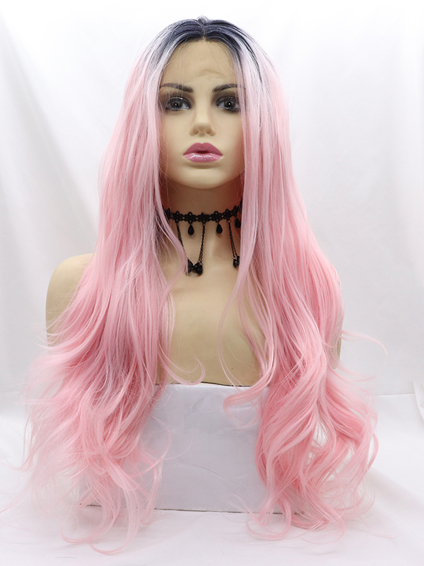 "26"" Long Ombre Pink Syntehtic Lace Front Wig- edw1202 - Click Image to Close"