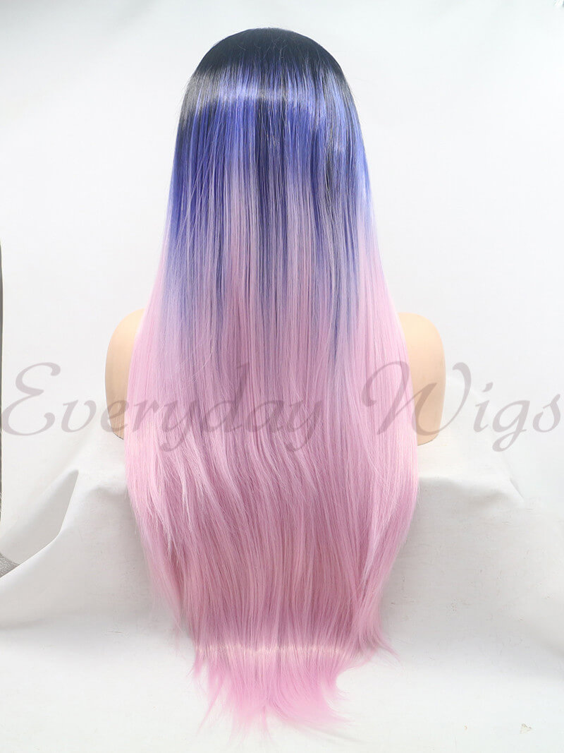 "26"" Long Ombre Pink Syntehtic Lace Front Wig- edw1202"