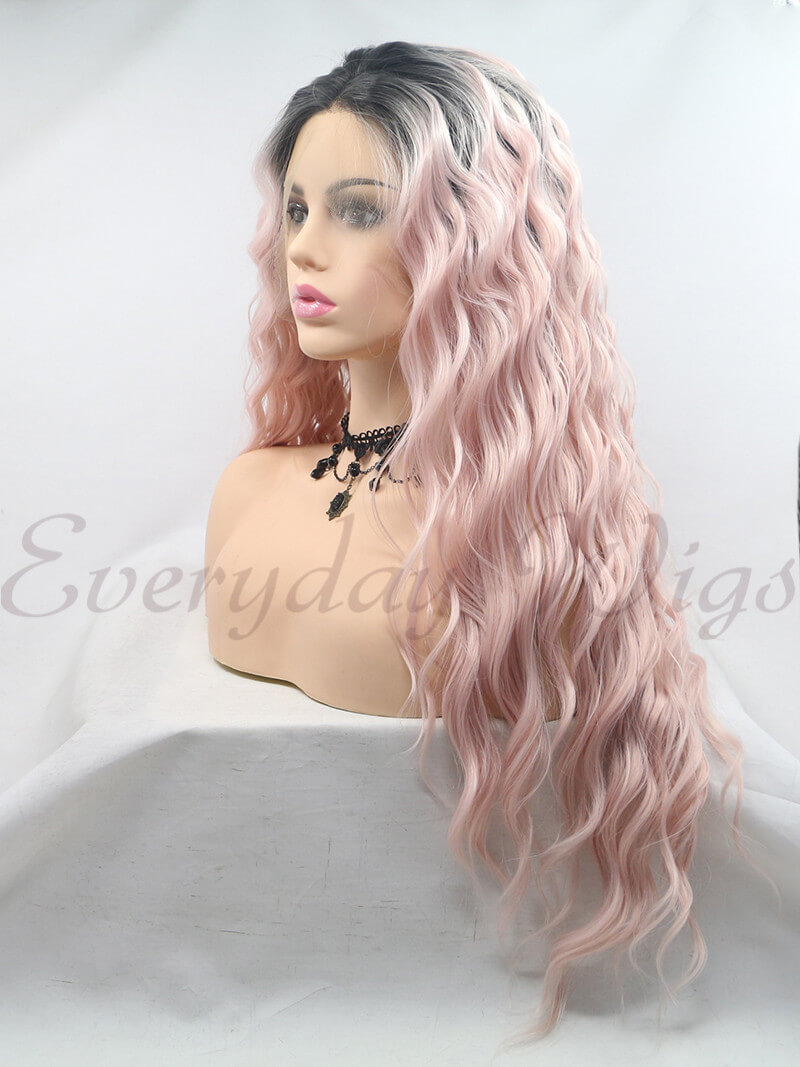 "26"" Ombre Pink Long Syntehtic Lace Front Wigs- edw1203"