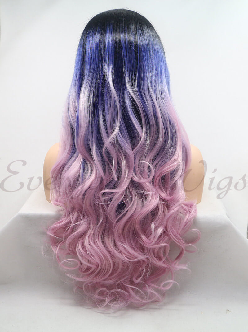 "24"" Ombre Pink Wavy Syntehtic Lace Front Wigs - edw1204"