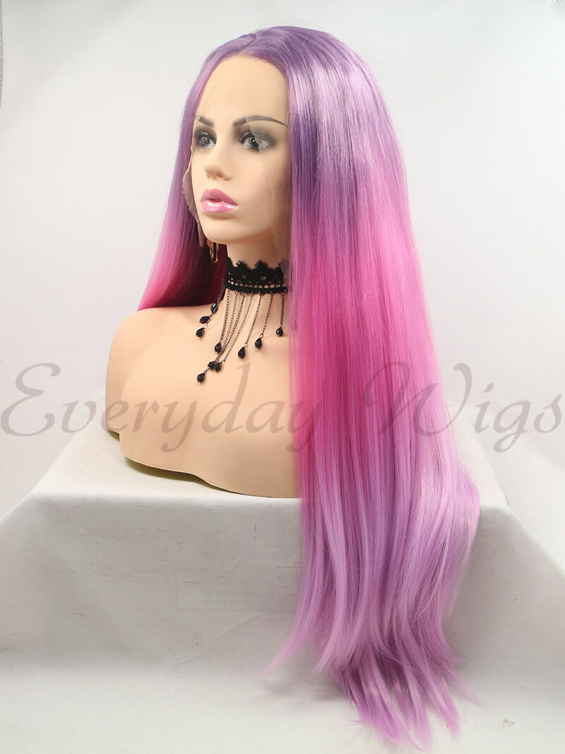 "26"" Ombre Purple Long Synthetic Lace Front Wigs -edw1205"