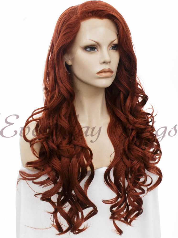 "24"" Long Wavy Synthetic Lace Front Wig - edw121"