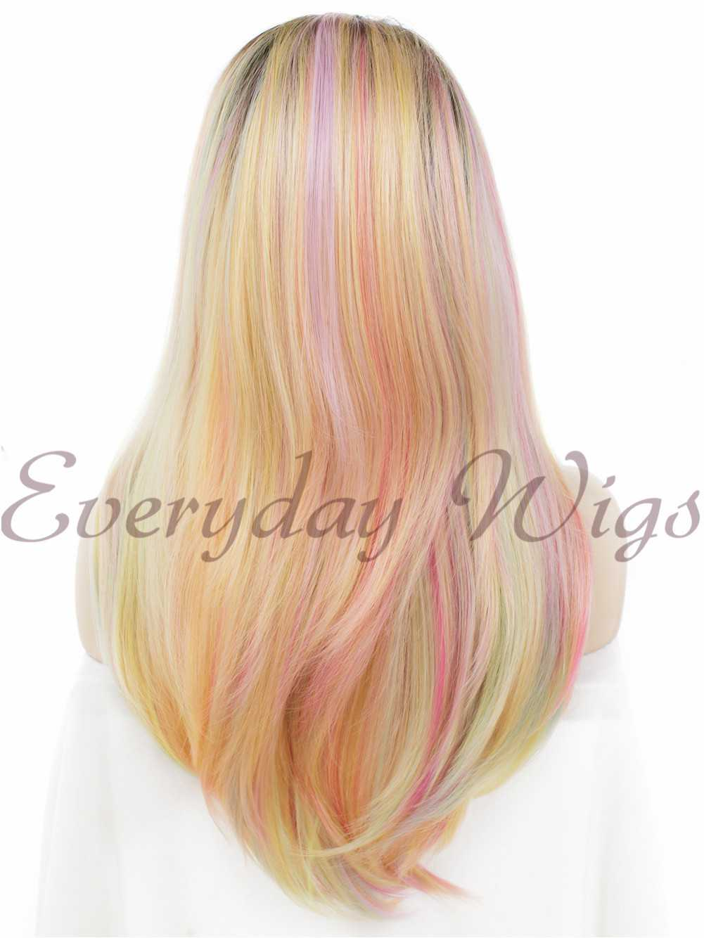 "24"" Long Colorful Synthetic Lace Front Wig - edw122"