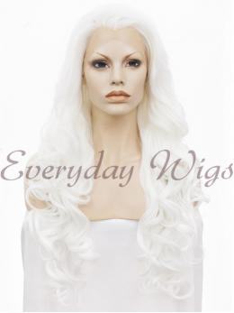 "24"" WhiteLong Wavy Synthetic Lace Front Wig - edw123"