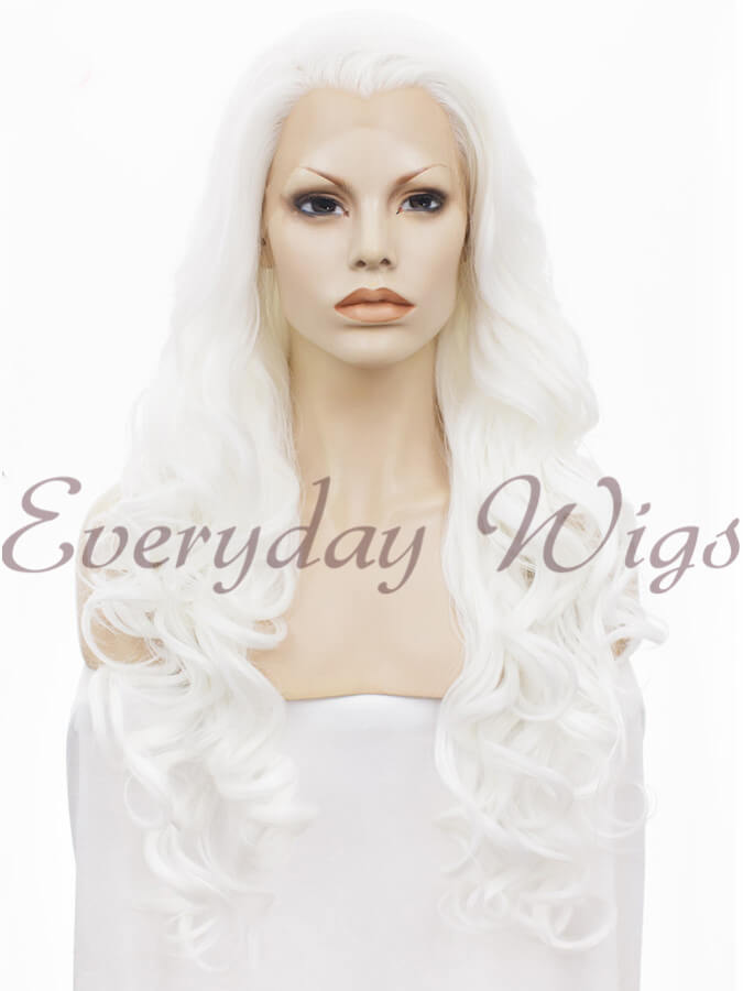 "24"" #613A-White Blonde Long Wavy Synthetic Lace Front Wig - edw123"