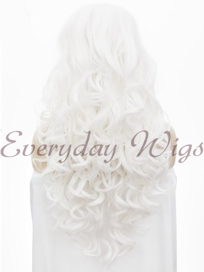 "24"" White Long Wavy Synthetic Lace Front Wig - edw123"