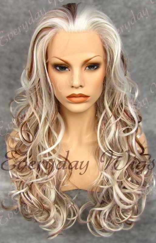 "24"" Highlight Color Long Wavy Synthetic Lace Front Wig - edw124"
