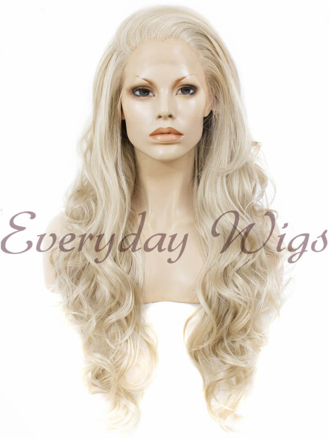 "24"" #613A-White Blonde Long Wavy Synthetic Lace Front Wig - edw125"