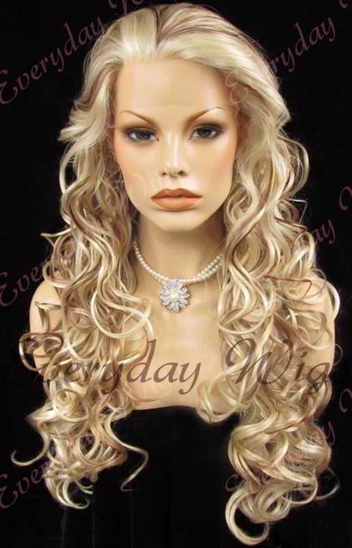 "24"" Highlight Color Long Wavy Synthetic Lace Front Wig - edw126"