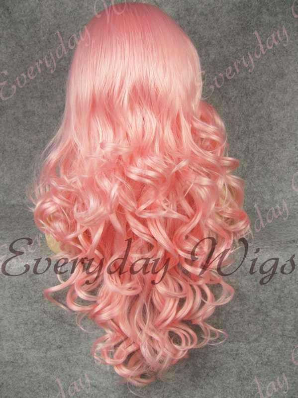 "24"" Pink Long Wavy Synthetic Lace Front Wig - edw128"