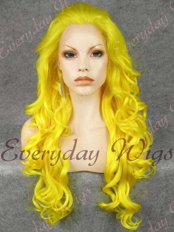 "24"" Yellow Long Wavy Synthetic Lace Front Wig - edw129"