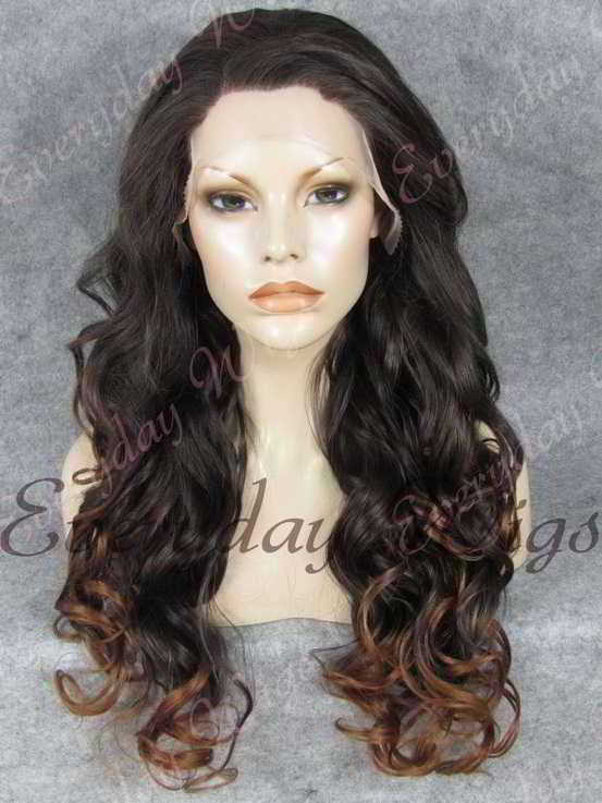 "24"" Ombre Color Long Wavy Synthetic Lace Front Wig - edw130"