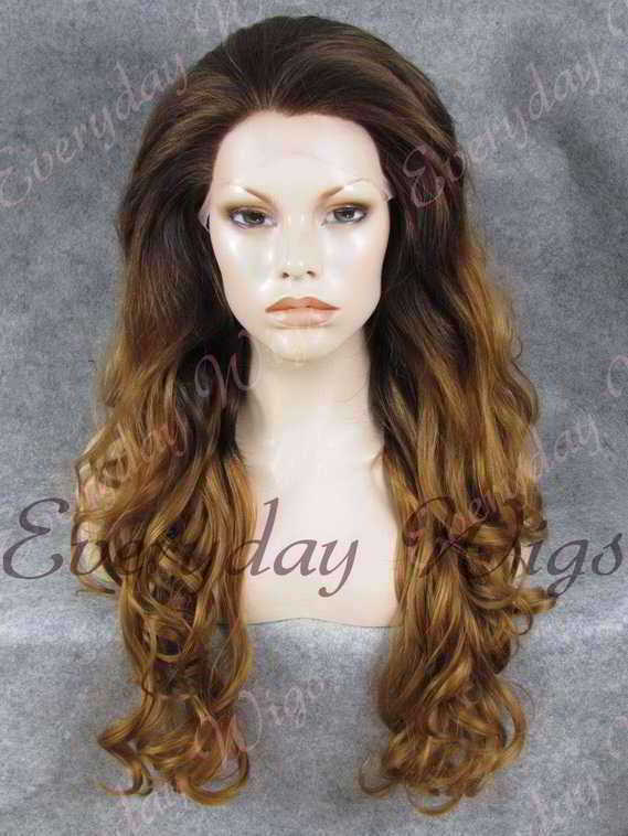 "24"" Ombre Color Wavy Synthetic Lace Front Wig - edw131"