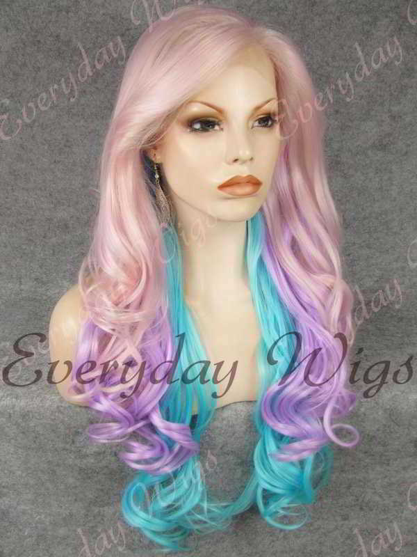 "24"" Three-tone Long Wavy Synthetic Lace Front Wig - edw132"