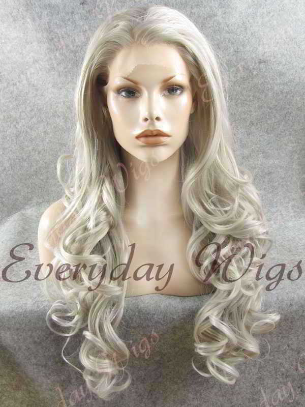 "24"" Grey Long Wavy Synthetic Lace Front Wig - edw134"
