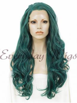 "24"" Dark Green Long Wavy Synthetic Lace Front Wig - edw135"
