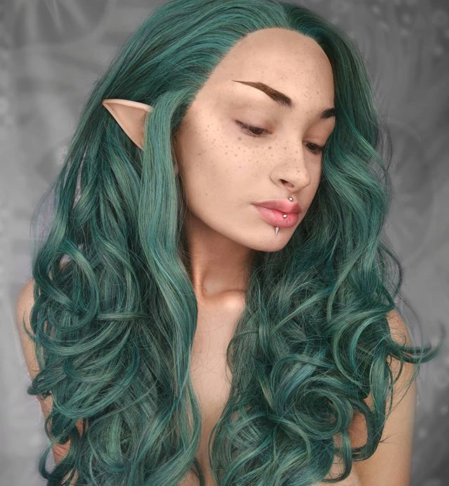 "24"" Green Long Wavy Synthetic Lace Front Wig - edw135"