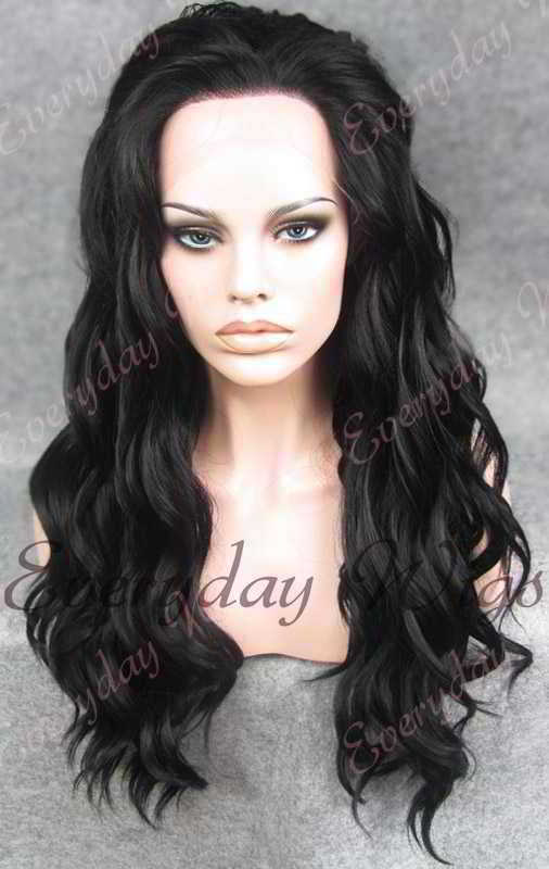 "24"" #1-Jet Black Long Wavy Synthetic Lace Front Wig - edw138"