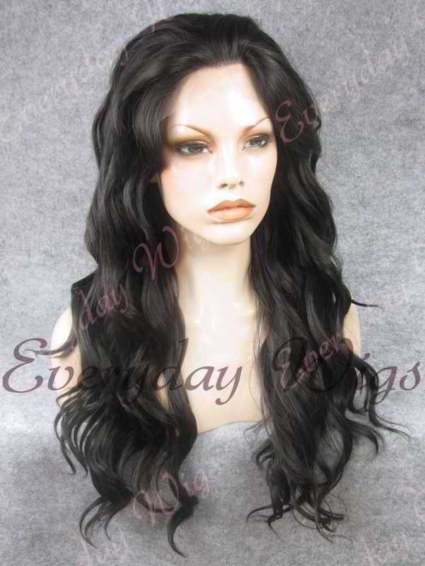"24"" Natural Black Long Wavy Synthetic Lace Front Wig - edw140"