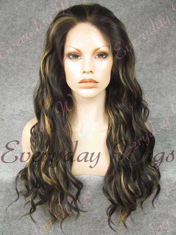 "24"" Highlight Color Long Wavy Synthetic Lace Front Wig - edw141"
