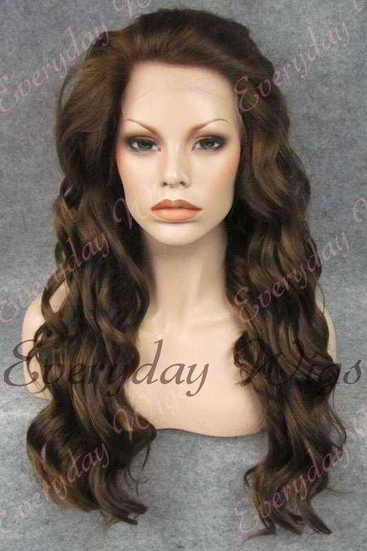 "24"" Mix Color Long Wavy Synthetic Lace Front Wig - edw142"
