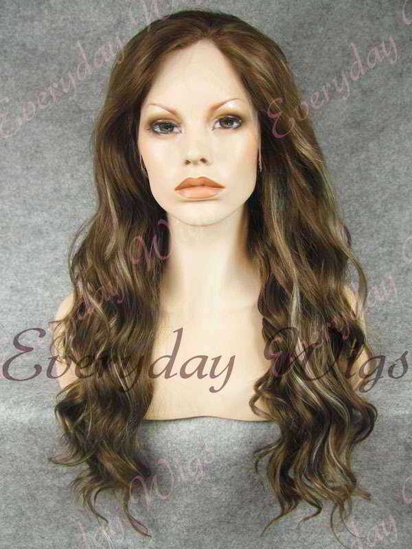 "24"" Highlight Color Long Wavy Synthetic Lace Front Wig - edw143"