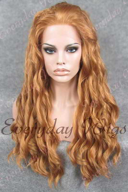 "24"" Long Wavy Synthetic Lace Front Wig - edw145"