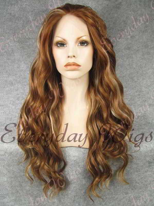 "24"" Highlight Color Long Wavy Synthetic Lace Front Wig - edw147"