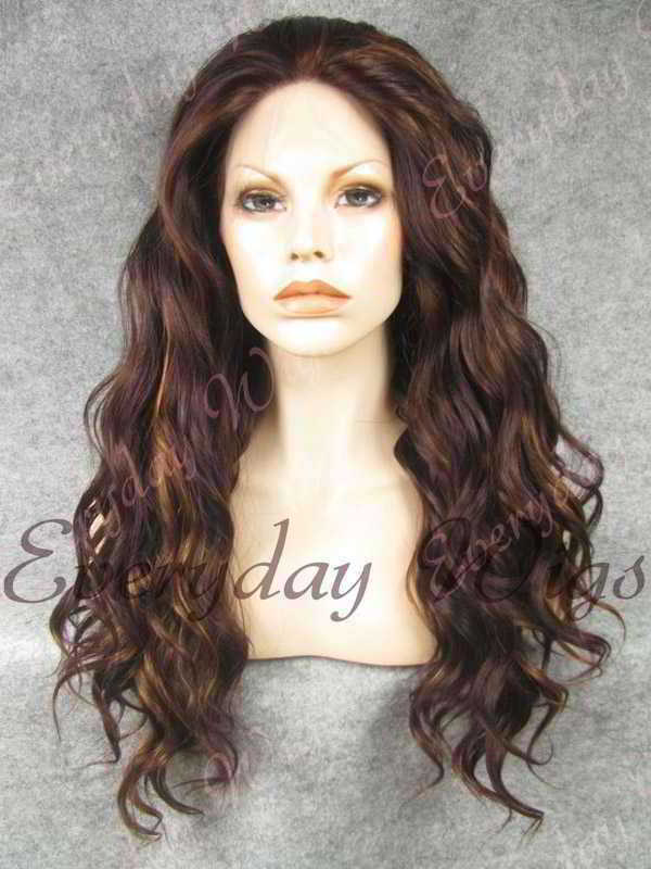 "24"" Highlight Color Long Wavy Synthetic Lace Front Wig - edw149"