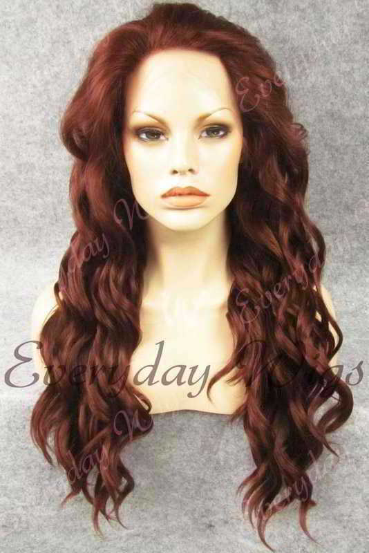 "24"" Long Wavy Synthetic Lace Front Wig - edw150"